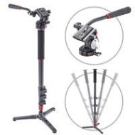 3Pod Orbit 4 Section Carbon Fiber Photo/Video Monopod with Fluid Base and Lightweight Fluid Video Head