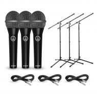 AKG},description:A set of 3 AKG D8000M hypercardioid dynamic microphones complete with 3 mic cables and 3 tripod boom stands. Ideal for drum sets, multiple vocals, instruments and