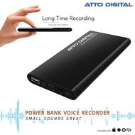 ATTo digital Voice Activated Recorder with Great Battery Life for 15 Days Recording, 94 Hours MP3 Audio Recordings Capacity, Functional Portable Charging Device | powerREC by aTTo Digital