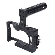Acouto Camera Cage, Camera Cage Kit Aluminum Alloy Corrosion Resistant Camera Cage Stabilizer with Top Handle with 1/4 and 3/8 Screw Holes for Sony A6500