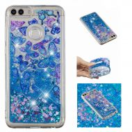 /for Huawei Enjoy 7S Case with Screen Protector,Huawei P Smart Bling Girly Case for Women,Aearl Cute Glitter Liquid Case Shiny Flowing Floating Clear Soft Silicone Protective Cover
