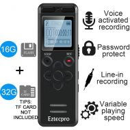 Aiworth 16GB Digital Voice Activated Recorder for Lectures - Eztecpro 580 Hours Sound Audio Recorder Dictaphone Voice Activated Recorder Recording Device with Playback,MP3 Player,Password,