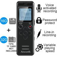 Aiworth 16GB Digital Voice Activated Recorder for Lectures - aiworth 1160 Hours Sound Audio Recorder Dictaphone Voice Activated Recorder Recording Device with Playback,MP3 Player,Password,