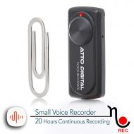 Attodigit@l Small Voice Recorder with 20 Hours Battery Life | Ideal for Lectures, Meetings or Interviews | 141 Hours Capacity on 8GB | nanoREC by aTTo Digital