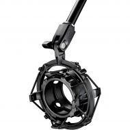Audio-Technica},description: Attenuates noise, shock and vibration transmitted through mic stands, booms and mounts. Inner shock mount ring rotates to engage ball bearings that l