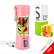 [Upgraded Version] USB Juicer Cup BHUATO, Portable Juice Blender, Household Fruit Mixer - Six in 3D, 380ml Fruit Mixing Machine Superb Mixing (Pink)