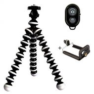 Basin Tripods Selfie Tripod with Blue Tooth Shutter Remote for Cell Phone, GoPro, Digital Camera Flexible Octopus Gorilla Legs Will Wrap, Hang or Stand Anywhere!