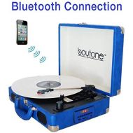 Boytone BT-101WT Bluetooth Turntable Briefcase Record Player AC-DC, Built in Rechargeable Battery, 2 Stereo Speakers 3-Speed, LCD Display, FM Radio, USBSD,RCA, AUX  MP3, Encoding