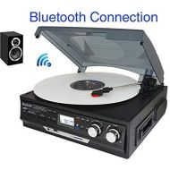 Boytone BT-37B-C Bluetooth 3-Speed Stereo Turntable, Wireless Connect to Devices Speaker(Bluetooth Out Transfer), 2 Built-in Speakers, LCD Display, AMFM Radio, USBSDAUX+ Cassett