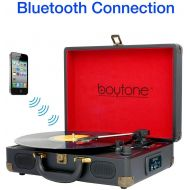 Boytone BT-101RD Bluetooth Turntable Briefcase Record Player AC-DC, Built in Rechargeable Battery, 2 Stereo Speakers 3-Speed, LCD Display, FM Radio, USBSD,RCA, AUX  MP3, Encoding