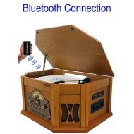8-in-1 Boytone BT-25PW with Bluetooth Connection Natural Wood Classic Turntable Stereo System, Vinyl Record Player, AMFM, CD, Cassette, USB, SD Slot. 2 Built-in Speaker, Remote Co