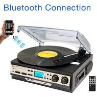 Boytone BT-27R-C Bluetooth connection 3-Speed Stereo Turntable, 2 built in Speakers Digital LCD Disp