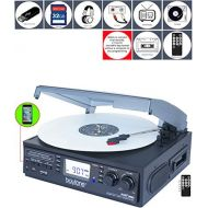 Boytone BT-19DJB-C 3-speed Turntable, 2 Built in Speakers Large Digital Display AMFM, Cassette, USBSDAUXMP3, Recorder & WMA Playback Recorder & Headphone Jack + Remote Control