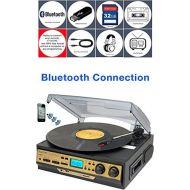 Boytone BT-27G-C Bluetooth connection 3-Speed Stereo Turntable, 2 built in Speakers Digital LCD Display AMFM Radio, USBSDAUX+ CassetteMP3 & WMA Playback Recorder & Headphone J