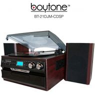 7-in-1 Boytone BT-21DJM-CDSP Full Size 3 Speed Turntable 334578 Rpm, Belt Drive, CD, Cassette Player AMFM USBSD Slot, Aux Input. Encoding Vinyl & Radio & Cassette To-MP3.
