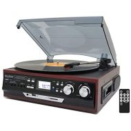 Boytone BT-17DJM-C 3-Speed Stereo Turntable, 2 Built in Speakers Digital LCD Display AMFM, USBSDAUX+ CassetteMP3 & WMA Playback Recorder & Headphone Jack + Remote Control