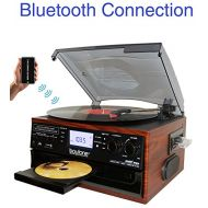 Boytone BT-22M, Bluetooth Record Player Turntable, AMFM Radio, Cassette, CD Player, 2 built in speaker, Ability to convert Vinyl, Radio, Cassette, CD to MP3 without a computer, SD