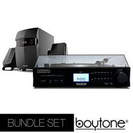 Boytone Bundle set Fully Automatic Bluetooth Turntable + 2.1 Multimedia Speaker, S-Shaped Tone Arm, Adjustable Counterweight & pitch control, AMFM, Cassette, CD Player USB, SD (BT