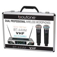Boytone BT-44VM Dual Digital Channel Wireless Microphone System - VHF Fixed Frequency Wireless Mic Receiver, 2 Handheld Dynamic Transmitter Mics, for Party, Church, Aluminum carryi