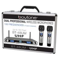 Boytone BT-48UM 100 Channels professional Dual UHF Digital Wireless Microphone System, with 2 Handheld Dynamic Cordless Microphone, Good for Church, Events, concert with Aluminum c