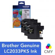 Brother Genuine High Yield Color Ink Cartridge, LC2033PKS, Replacement Color Ink Three Pack, Includes 1 Cartridge Each of Cyan, Magenta & Yellow, Page Yield Up To 550 Pages, Amazon