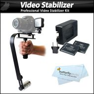ButterflyPhoto Professional Video Stabilizer with LED Light Set Includes Action Stabilizing Handle + Deluxe LED Light Kit For Sony HDR-CX330, HDR-CX240, HDR-CX900, HDR-PJ540, HDR-PJ790, HDR-PJ650