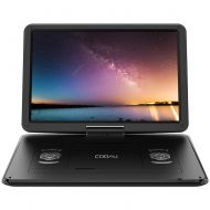"COOAU 15.6"" Portable DVD Player with Remote Controller, Large 270 Degrees Swivel Screen, 6 Hrs Long Lasting Built-in Battery, Setreo Sound, Region Free, SD+USB+AVin+AVout+Earphone"