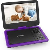 COOAU Upgraded Portable DVD Player 12.5 with HD 10.5 Swivel Screen, Support All Region, 5-Hours Rechargeable Battery, Sync Screen Playing, USB/SD Card (Purple)