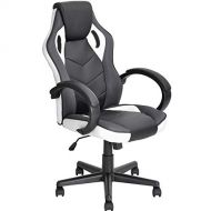 Coavas Computer Game Chair Gaming Racing Chair PU Leather High Back Office Desk Chair Executive Swivel Task Chair (Black&White)