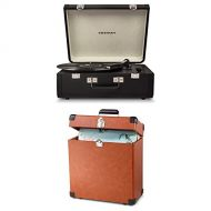 Crosley and Crosley Bundle Includes 2 Items - Crosley CR6252A-BK Portfolio Portable Turntable with Bluetooth, Black and Crosley CR401-TA Record Carrier Case for 30+ Albums, Tan