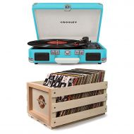 Crosley and Crosley Bundle Includes 2 Items - Crosley CR8005D-TU Cruiser Deluxe Portable 3-Speed Turntable with Bluetooth, Turquoise and Crosley AC1004A-NA Record Storage Crate Holds up to 75 Albums,