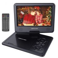 DBPOWER 11.5 Portable DVD Player with 9.5 Swivel Screen, 5-Hour Built-in Rechargeable Battery, Support CD/DVD/SD Card/USB, with Car Charger and Power Adaptor, Red