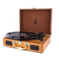 D&L Turntable for Vinyl Records Portable Record Player, 3 Speed Suitcase Phonograph with Built-in Stereo Speakers, PC Recorder, Headphone Jack