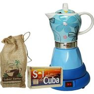 Delonghi Electric Cordless Espresso Cuban Coffee Maker 4 Cups Color BLUE Includes Coffee in Beautiful Jute Bag