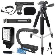 "ECD Professional 57"" Tripod + Deluxe LED Video Light + Mini Condenser DSLR Camcorder Microphone + Camera Camcorder Action Stabilizing Handle Everything You Need Video Kit for JVC GZ-HM"