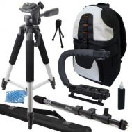 "ECD Professional 57"" Tripod + Dolica WT-1003 67-Inch Lightweight Monopod + Camera Camcorder Action Stabilizing Handle + Deluxe Backpack Travel Vacation Kit for Toshiba Camileo X200 X40"