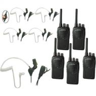 Eartec SC-1000 5-User Two-Way Radio System with 5X SST PTT Lapel Mic Headsets
