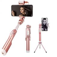Selfie Stick Wireless, ElecRat Extendable Wireless Remote Aluminum Alloy Tripod for iOS and Android System Phones(Rose Gold)