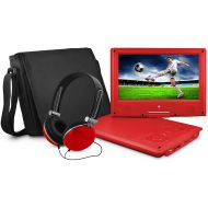 Ematic Portable DVD Player with 9-inch LCD Swivel Screen, Travel Bag and Headphones, Red: Electronics