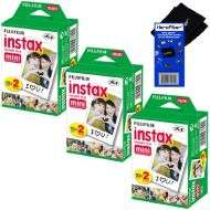 Fujifilm Instax Mini Twin Pack Instant Film - 3 pack (60 sheets) for Fujifilm Instax Mini 7s, Mini 8, Mini 9, Mini 25, Mini 50S, Mini 90, SP-1 & SP-2 Smartphone Printer + HeroFiber