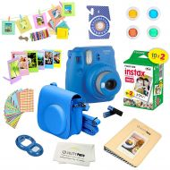 Fujifilm Instax Mini 9 Camera - Cobalt Blue + Fujifilm Instax mini 9 Instant Films 2-Pack = 20 Sheets + A 15 PC Massive Deluxe Accessory Kit Bundle for Fujifilm instax mini 9 Insta