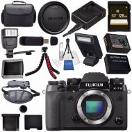 Fujifilm X-T2 Mirrorless Digital Camera (Black) 16519247 + NP-W126 Lithium Ion Battery + 128GB SDXC Card + Carrying Case + Flexible Tripod + Universal Slave Flash Unit + Lens Clean