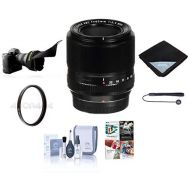 Fujifilm XF 60mm (90mm) F2.4 Macro Lens - Bundle with 39mm UV Filter, Lens Wrap, Flex Lens Shade, Capleash, Cleaning Kit, Professional Software Package