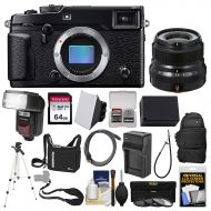 Fujifilm X-Pro2 Wi-Fi Digital Camera Body with 23mm f2.0 XF Lens + 64GB Card + Case + Flash + Battery & Charger + Tripod + Kit