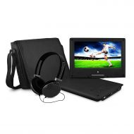FUNAVO Ematic Portable DVD Player with 9-inch LCD Swivel Screen, Travel Bag and Headphones, Blue