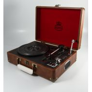 GPO Attache Protelx Brown Briefcase Style Vinyl Record Player Turntable