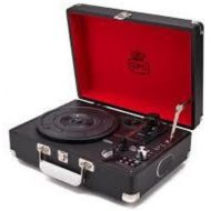 GPO Attache Briefcase-Style Record Player Vinyl Turntable with Built-in Speakers (Black)
