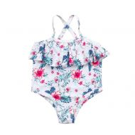 35f867ef1e Toddler Baby Swimsuit Ruffle Halter Strap Floral Swimwear Bathing Romper