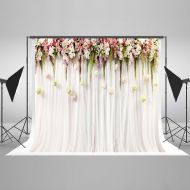 GreenDecor Polyester Fabric 7x5ft Printed Colorful Flowers White Pink Lace Curtain Wedding Ceremony Photography Backdrop Photo Booth Background