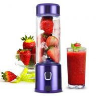 Portable Smoothie Blender, H HUKOER S-POW Personal Travel USB Rechargeable Blender for Shakes and Smoothies, with 5200mAh Battery, Single Serve Juicer Cup Fruit Mixer (Purple)
